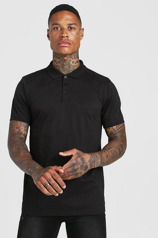 Mens Black MAN Official Biker Detail Polo