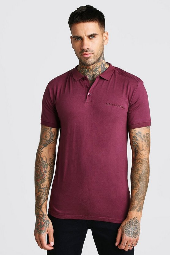 Mens Wine MAN Official Biker Detail Polo