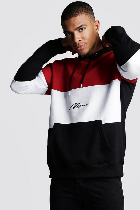Mens Red Colour Block MAN Signature Hoodie