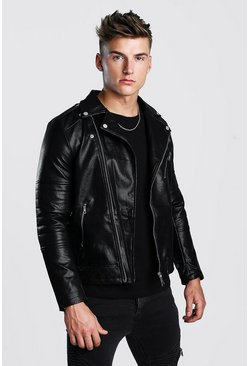 Black Faux Leather Biker With Quileted Detail