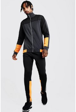 Mens Black Tricot Colour Block Funnel Neck Tracksuit