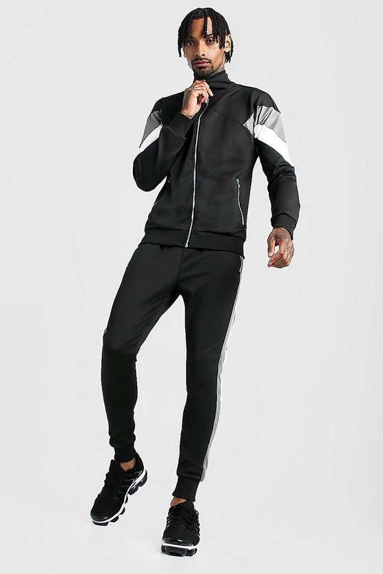 Mens Black Tricot Contrast Panel Funnel Neck Tracksuit