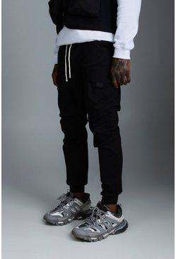 Black Rope Waistband Tab Detail Cargo Pants
