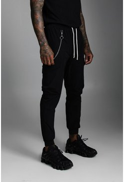 Mens Black Nylon Cuffed Cargo Pocket Trouser With Chain