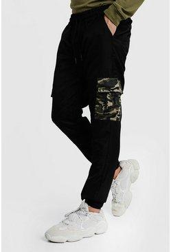 Black Cargo Pants With Camo Pockets