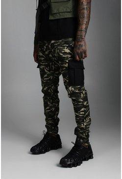 Camo Print Contrast Cargo Pants