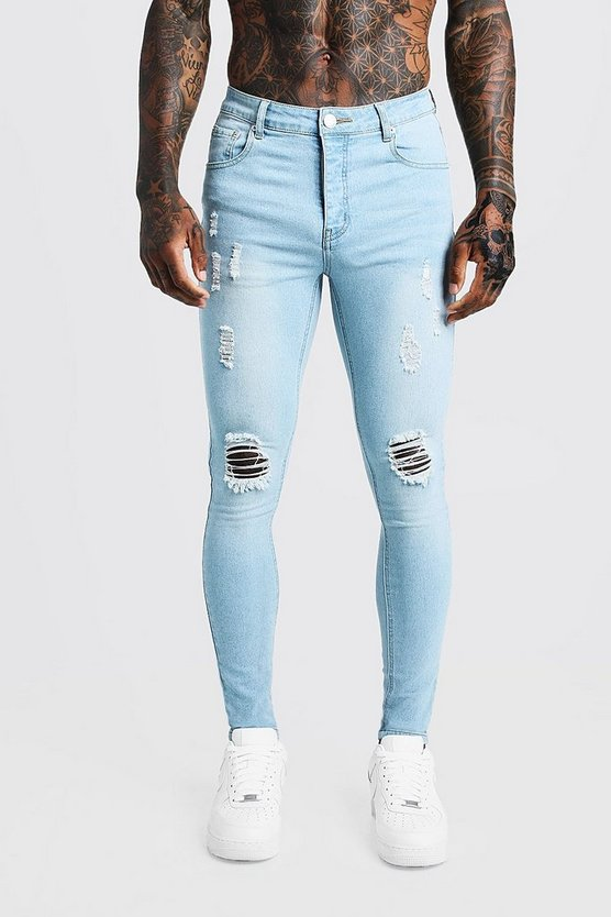 Spray On Skinny Jeans In Used-Optik, Hellblau, Herren