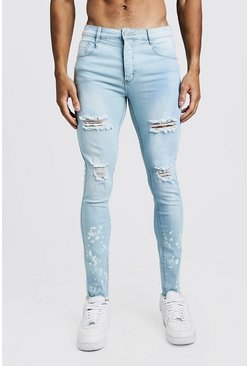 Light blue Super Skinny Bleached Hem Ripped Jeans