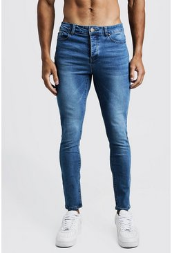 Mens Mid blue Super Skinny Jeans