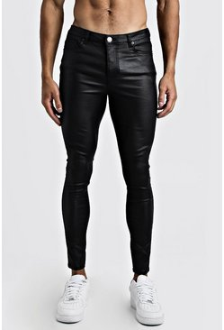 Mens Black Skinny PU Coated Jeans