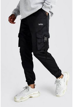 Mens Black Official MAN Reflective Shell Buckle Joggers