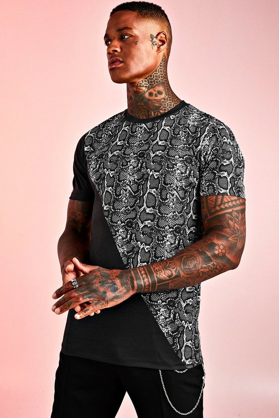 Mens Black Muscle Ft Spliced Animal Print T-Shirt