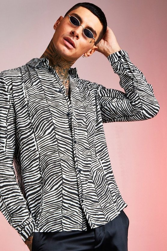 Mens Grey Viscose Long Sleeve Zebra Print Shirt