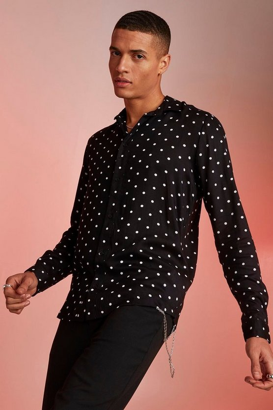 Mens Black Viscose Long Sleeve Polka Dot Shirt