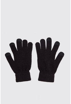 Mens Black Smartphone Touch Screen Gloves