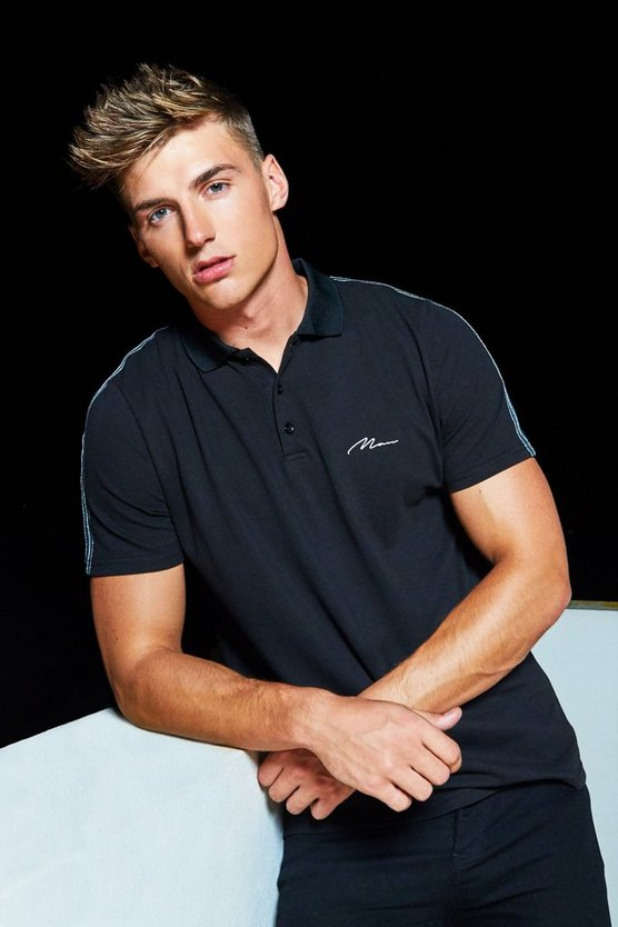 Mens Black Pique MAN Signature Polo With Silver Metallic Tape