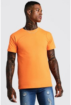 Mens Neon-orange Fitted T-Shirt In Neon Orange