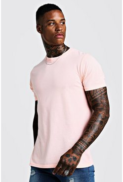 Mens Fitted T-Shirt In Washed Neon Orange
