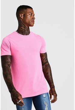 Mens Fitted T-Shirt In Washed Neon Pink