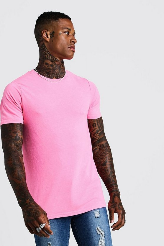 Fitted T-Shirt In Washed Neon Pink, HOMMES