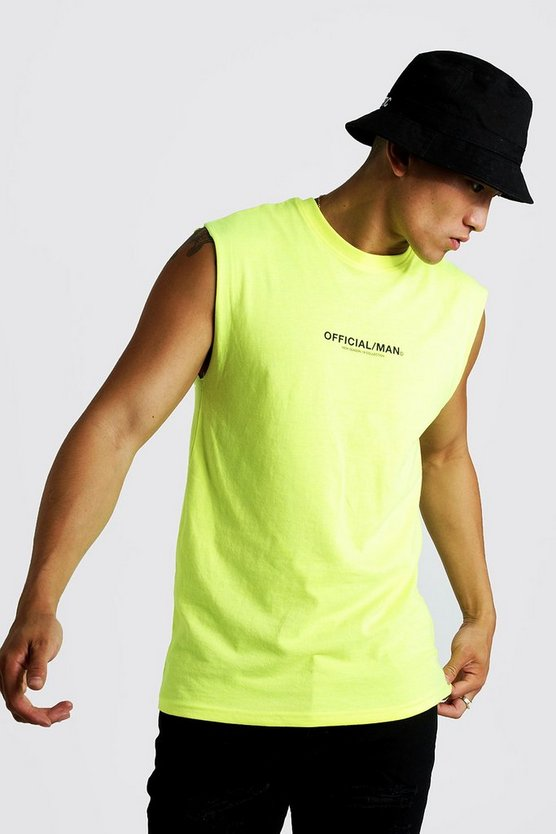 Neon-yellow MAN Official Drop Armhole Tank