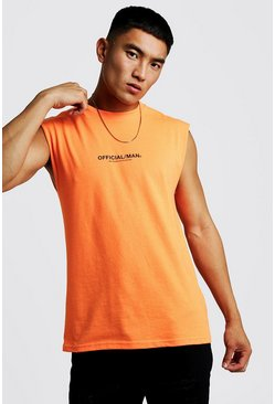 Mens Neon-orange MAN Official Drop Armhole Tank