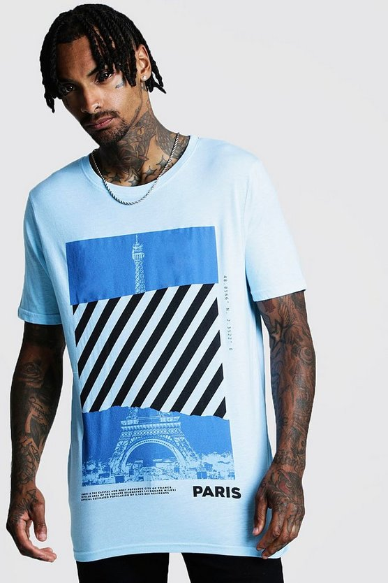 Aqua Loose Fit Front & Back Graphic T-Shirt