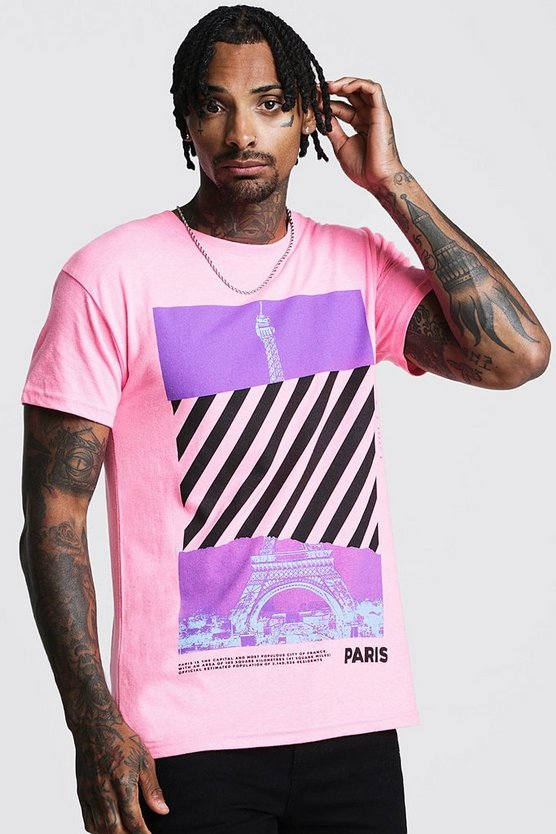 Mens Pink Loose Fit Front & Back Graphic T-Shirt