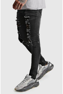Washed black Super Skinny Extreme Distressed Jeans