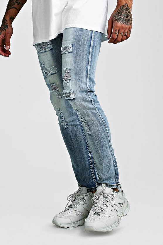 Blue Premium Super Skinny Jewel Rip & Repair Jeans
