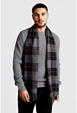 Mens Dark grey Red Detail Check Scarf