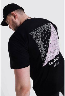 Black Plus Size La Bandana Back Print T-shirt