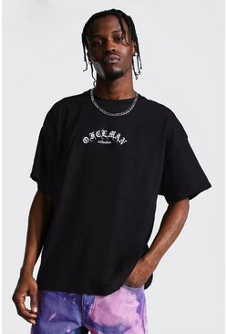 Black Oversized Official Man Gothic Print T-Shirt