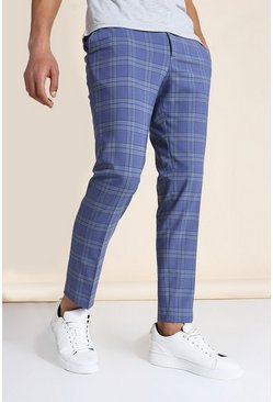 Skinny Blue Check Crop Trouser