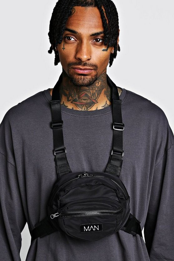 Mens Black Circular Chest Rig With MAN Tab