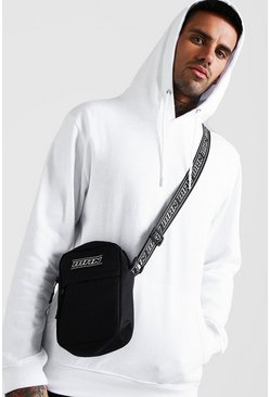 Black MAN Tape Crossbody Bag