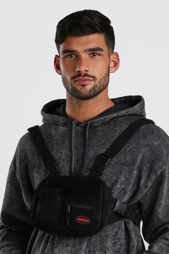 Mens Black Mesh Front Chest Bag With MAN Patch