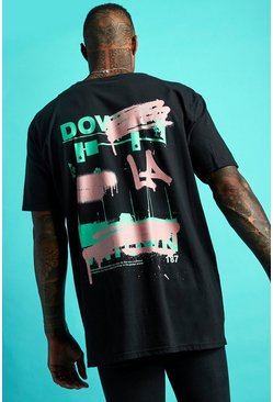 Mens Black Oversized La Graffiti Back Print T-Shirt