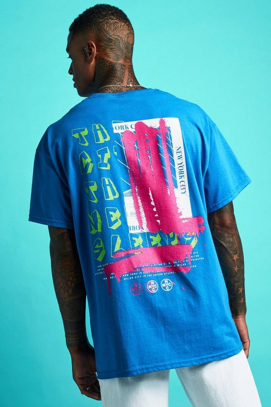 Mens Cobalt Oversized Graffiti Front & Back Print T-Shirt