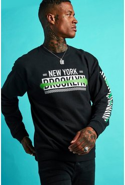 Mens Black Graffiti Front & Sleeve Print Sweatshirt