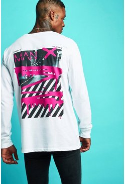 Mens White Oversized MAN Graffiti Long Sleeve T-Shirt