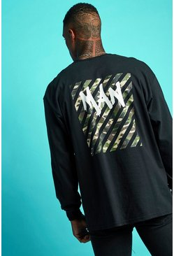 Mens Black Oversized Graffiti MAN Long Sleeve T-Shirt