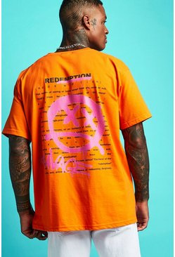 Mens Orange Oversized Graffiti Front & Back Print T-Shirt