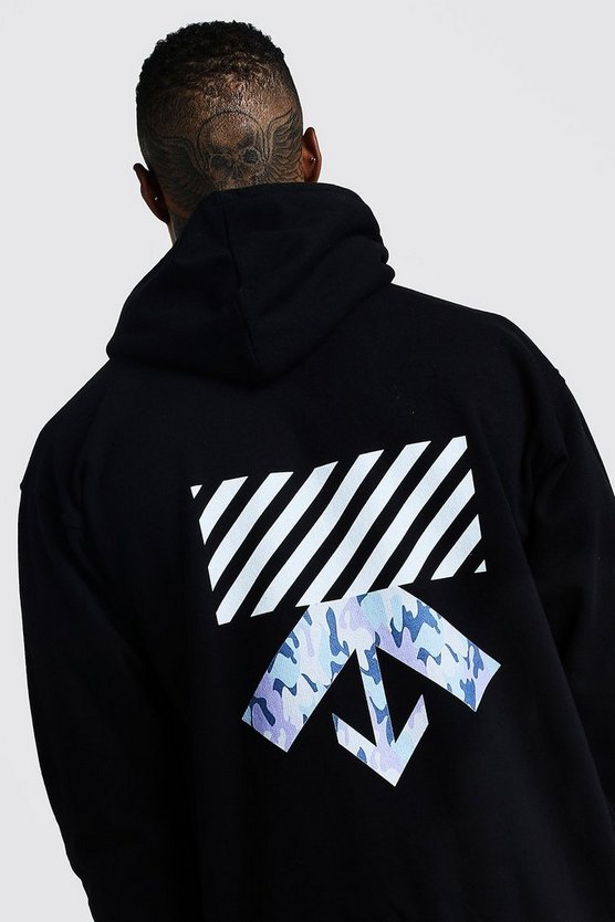 Mens Black MAN Oversized Camo Back Print Hoodie