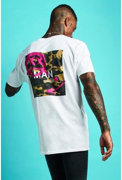 Mens White MAN Oversized Graffiti Camo Print T-Shirt