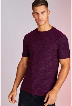 Mens Purple Metallic Stripe Party T-Shirt