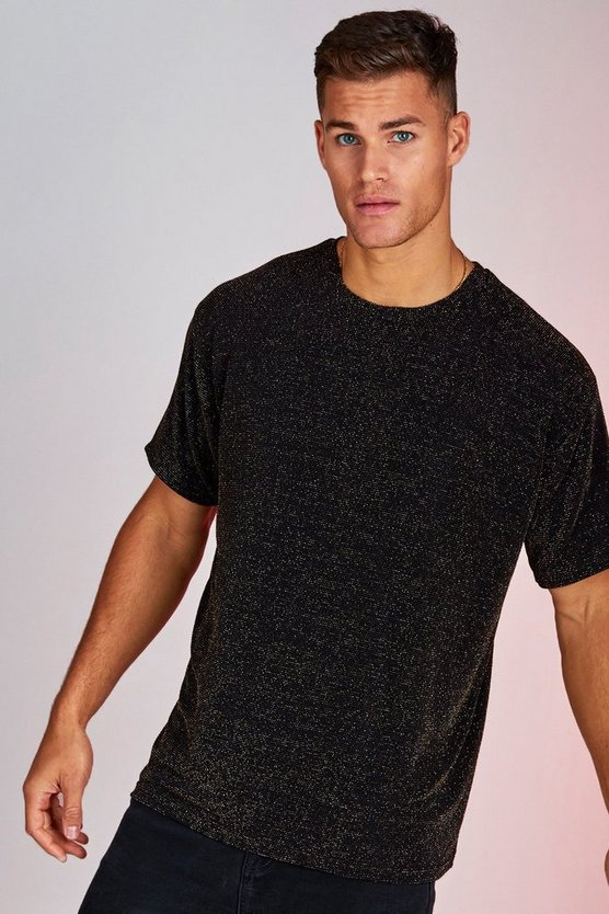 Mens Black Metallic Party T-Shirt In Loose Fit