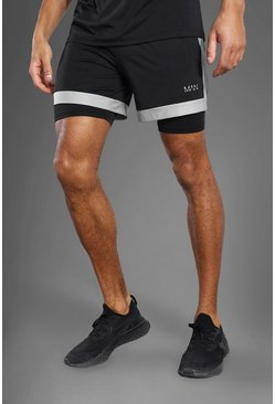 Black Man Active 2-In-1 Zip Pocket Mesh Panel Shorts