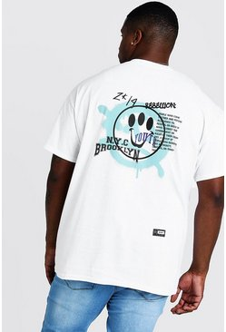 Mens White Big And Tall Brooklyn Smiley Back Print T-Shirt