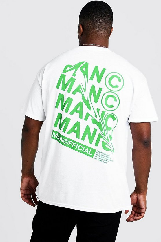 Mens White Big And Tall MAN Official Print T-Shirt